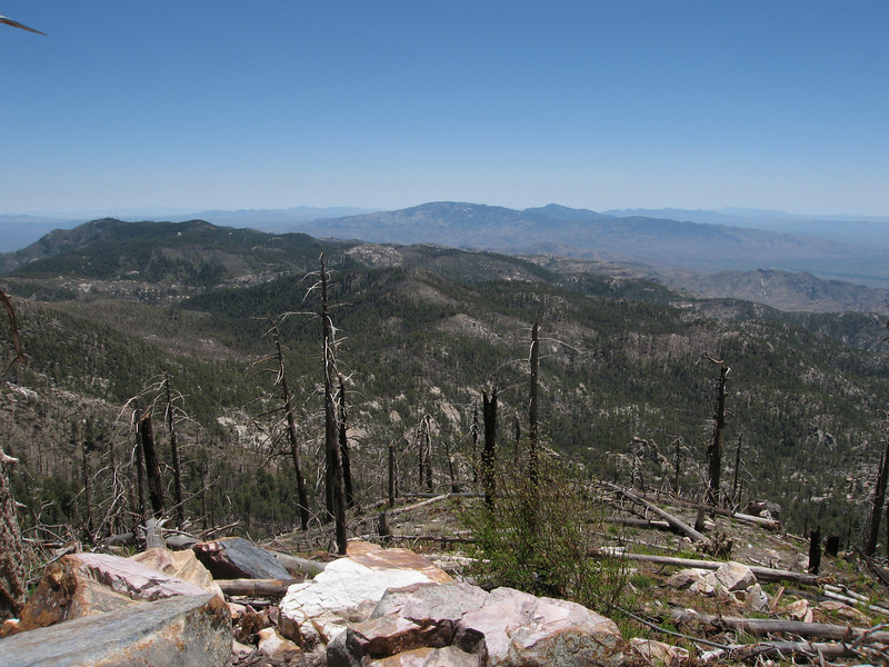 Looking southeast, left to right:  Bigelow (near), Chiricahua (faint in the distance), Mae West, Glenn, Mica, Rincon, Apache, Miller.