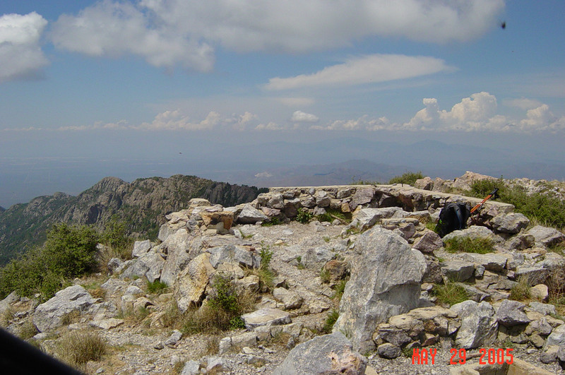 The remnants of the old fire lookout that resided on Mt. Wrightson's summit.