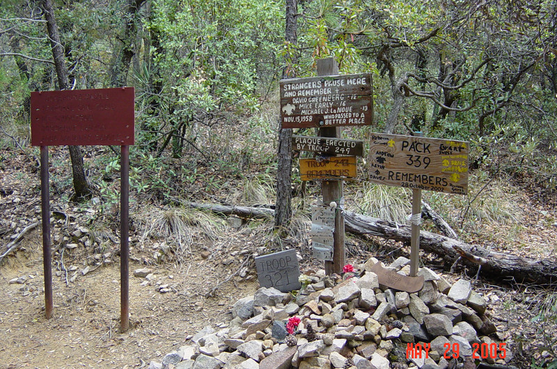 The memorial for the 1958 boy scout tragedy is located at Josephine Saddle.