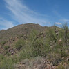 The south peak is marked by a Palo Verde tree which can barely be seen in the center of the photo.