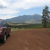 Nice parking spot with a view of the north side of the San Francisco Peaks.  The hiking route followed a dirt access road to the top.
