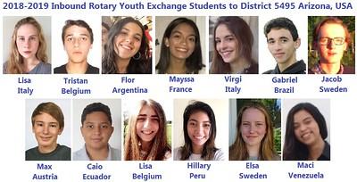 The 2018-19 District 5495 RYE Inbound students