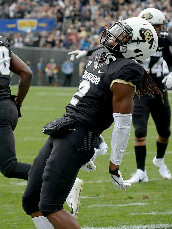 . BOULDER, CO: October 6, 2018: University of Colorado\'s   Laviska Shenault celebrates his first touchdown during  the game with Arizona State on October 6, 2018. (Photo by Cliff Grassmick/Staff Photographer)