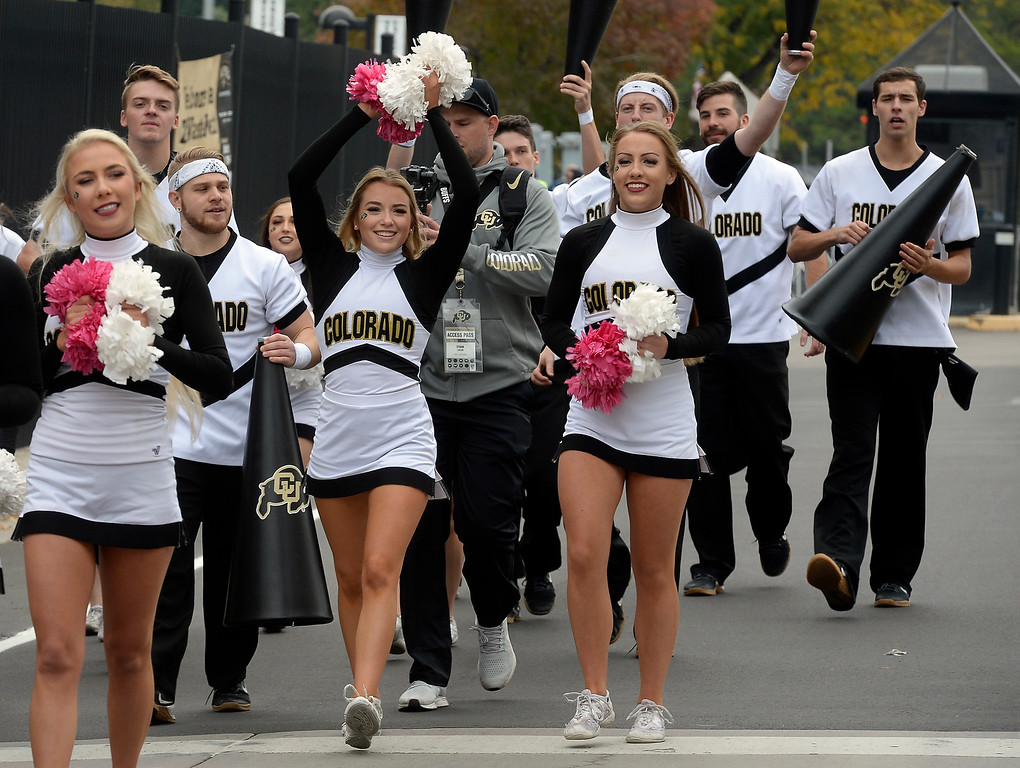. BOULDER, CO: October 6, 2018: The CU Spirit Squad march to the field before the game with Arizona State on October 6, 2018. (Photo by Cliff Grassmick/Staff Photographer)