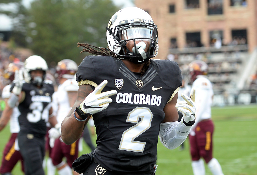 . BOULDER, CO: October 6, 2018: University of Colorado\'s  Laviska Shenault scores his second touchdown from a pass from Steven Montez  during  the game with Arizona State on October 6, 2018. (Photo by Cliff Grassmick/Staff Photographer)