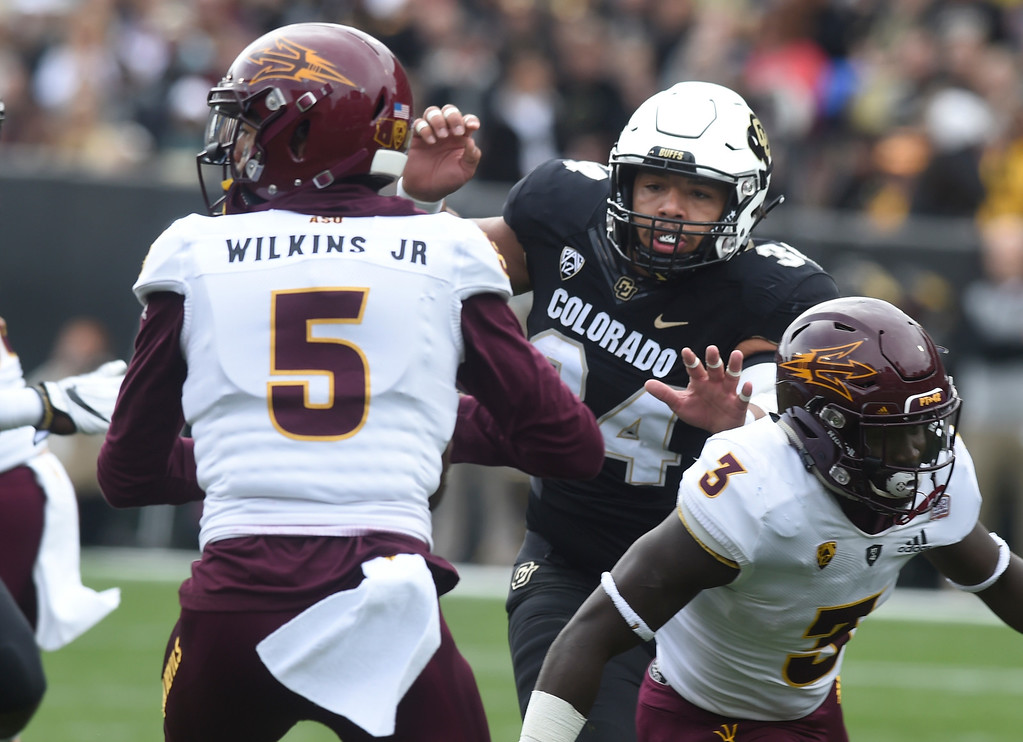 . BOULDER, CO: October 6, 2018: University of Colorado\'s  Mustafa Johnson pressures ASU\'s Manny Wilkens Jr. during  the game with Arizona State on October 6, 2018. (Photo by Cliff Grassmick/Staff Photographer)