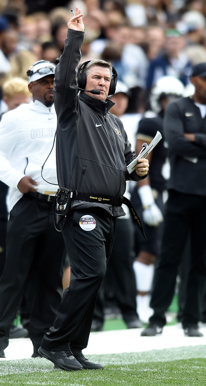 . BOULDER, CO: October 6, 2018: University of Colorado\'s  head coach, Mike MacIntyre, during  the game with Arizona State on October 6, 2018. (Photo by Cliff Grassmick/Staff Photographer)