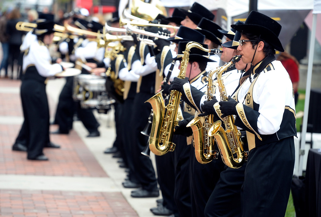 . BOULDER, CO: October 6, 2018: The CU marching band along the Buff Walk before the game with Arizona State on October 6, 2018. (Photo by Cliff Grassmick/Staff Photographer)