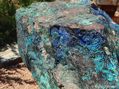 Beautiful boulder of copper ore at Jerome, AZ