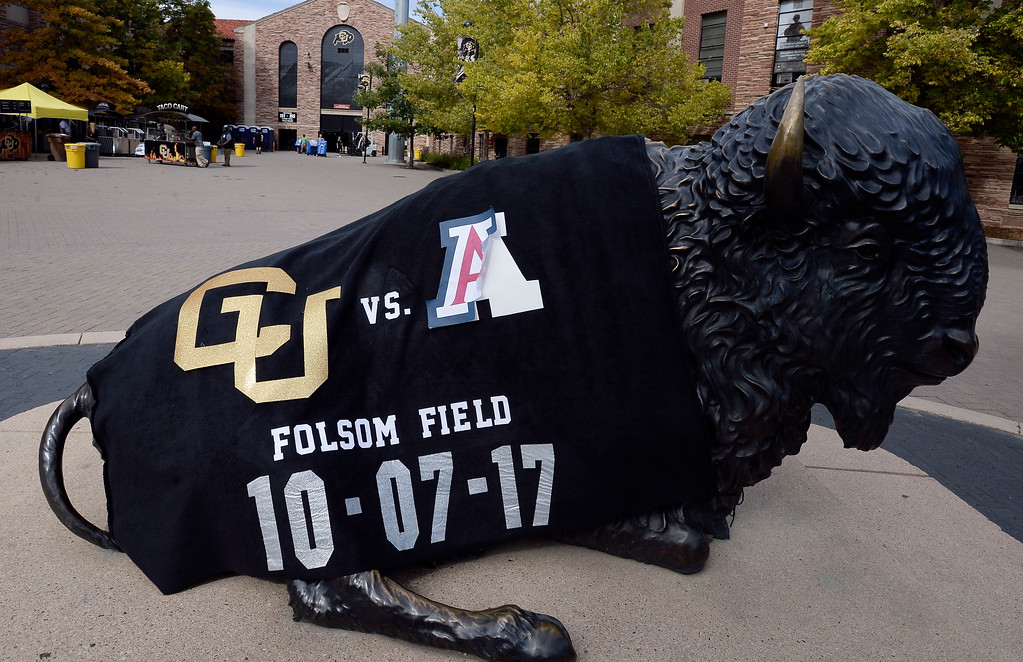 . The Buffalo with the blanket before the CU game with Arizona.  Cliff Grassmick / Staff Photographer/ October 7, 2017