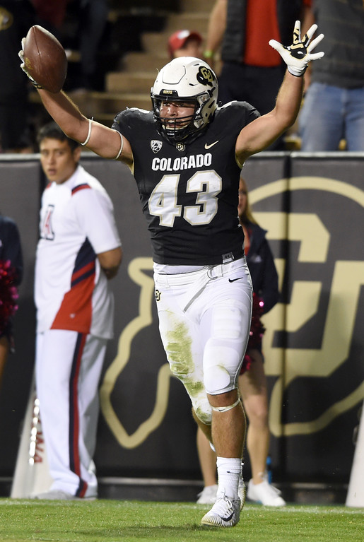 . Chris Bounds, of CU, celebrates his second TD catch  during the CU game with Arizona.  Cliff Grassmick / Staff Photographer/ October 7, 2017