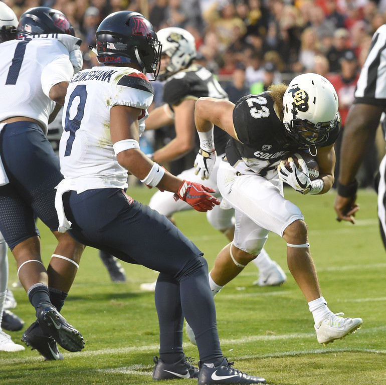 . Phillip Lindsay, of CU, scores CU\'s first TD of the game during the CU game with Arizona.  Cliff Grassmick / Staff Photographer/ October 7, 2017
