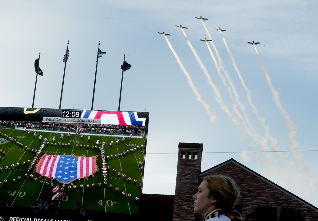 . A fly over started the game at Folsom Field.  Cliff Grassmick / Staff Photographer/ October 7, 2017