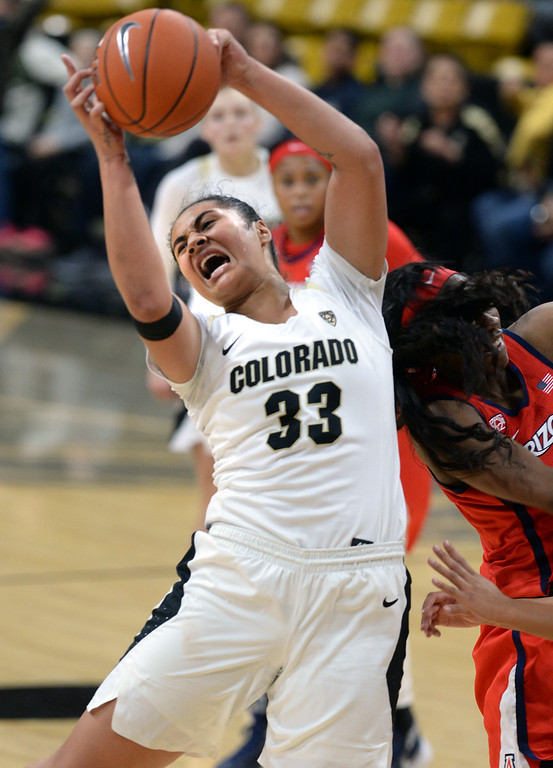 . BOULDER, CO: January 4, 2019: Peanut Tuitele, of CU, rebounds during the game with Arizona on Friday night. For more photos, go to dailycamera.com. (Photo by Cliff Grassmick/Staff Photographer)