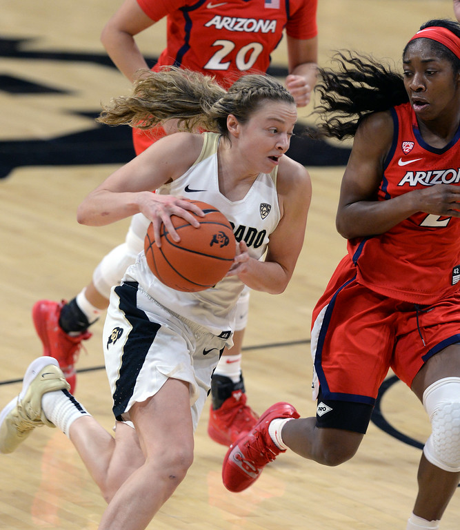 . BOULDER, CO: January 4, 2019: Kennedy Leonard, of CU, drives past Aari McDonald, of Arizona,  during the game with Arizona on Friday night. For more photos, go to dailycamera.com. (Photo by Cliff Grassmick/Staff Photographer)