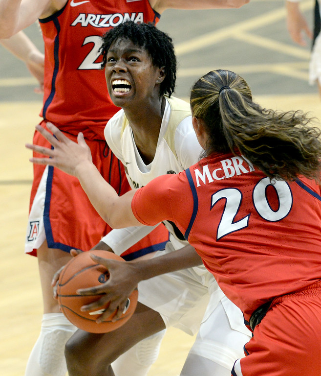. BOULDER, CO: January 4, 2019: Mya Hollingshed, of CU, goes up on Dominique McBryde, of Arizona,  during the game with Arizona on Friday night. For more photos, go to dailycamera.com. (Photo by Cliff Grassmick/Staff Photographer)