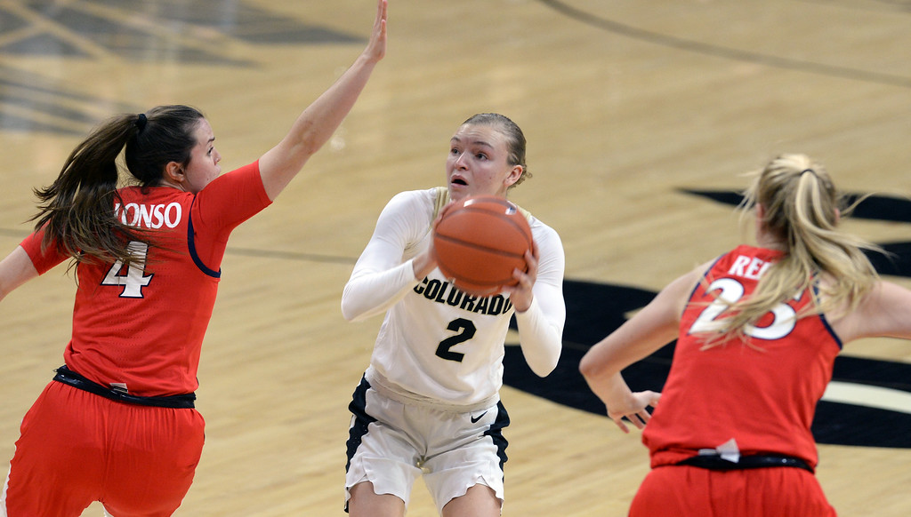 . BOULDER, CO: January 4, 2019: Alexis Robinson, of CU, pulls up for a shot between Lucia Alonzo and Cate Reese, of Arizona,  during the game with Arizona on Friday night. For more photos, go to dailycamera.com. (Photo by Cliff Grassmick/Staff Photographer)