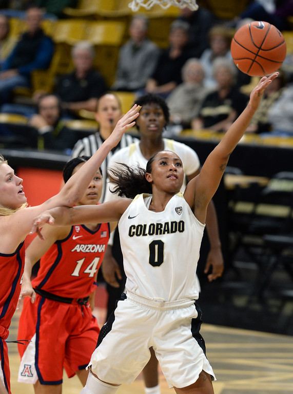 . BOULDER, CO: January 4, 2019:  Quinessa Caylao-Do, of CU, drives in for a lay up during the game with Arizona on Friday night. For more photos, go to dailycamera.com. (Photo by Cliff Grassmick/Staff Photographer)