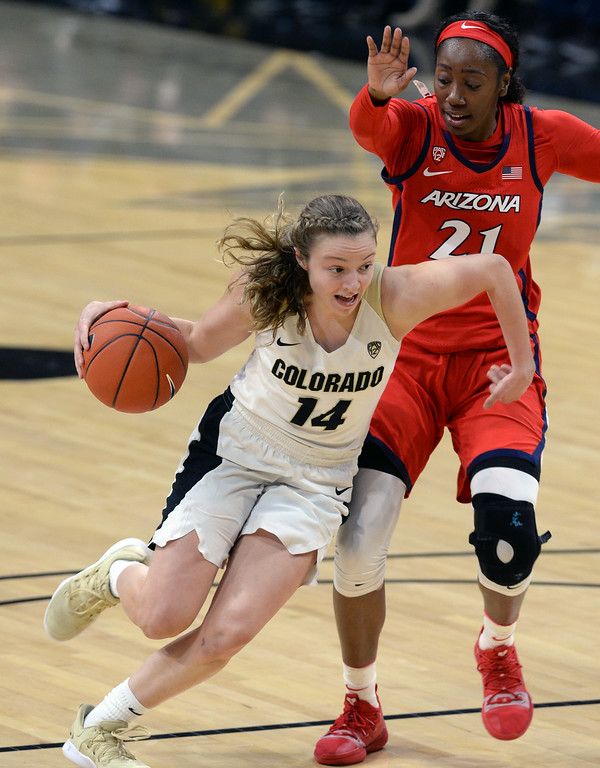 . BOULDER, CO: January 4, 2019:  Kennedy Leonard, of CU, drives past Destiny Graham, of Arizona, during the game with Arizona on Friday night. For more photos, go to dailycamera.com. (Photo by Cliff Grassmick/Staff Photographer)