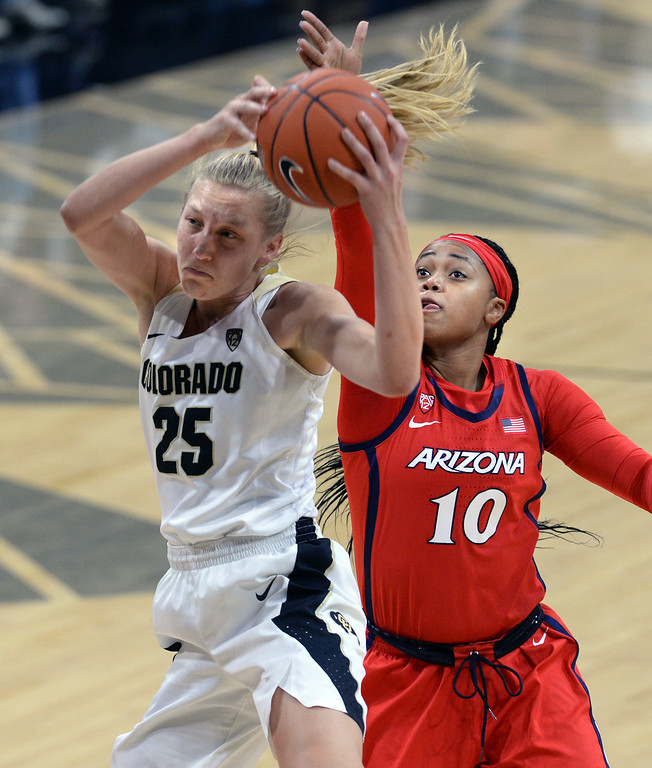 . BOULDER, CO: January 4, 2019: Annika Jank, of CU, gets past TeeTee Starks, of Arizona, during the game with Arizona on Friday night. For more photos, go to dailycamera.com. (Photo by Cliff Grassmick/Staff Photographer)