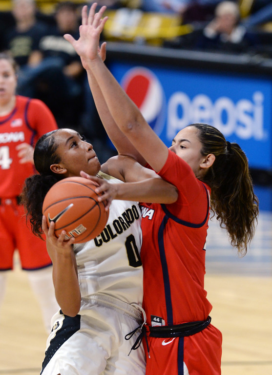 . BOULDER, CO: January 4, 2019: Quinessa Caylao-Do, of CU, drives on Dominique McBryde, of Arizona,  during the game with Arizona on Friday night. For more photos, go to dailycamera.com. (Photo by Cliff Grassmick/Staff Photographer)