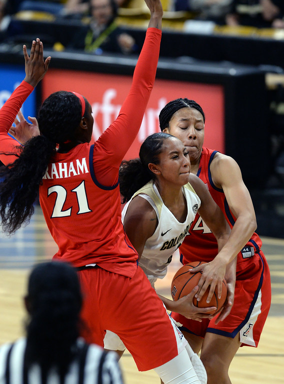 . BOULDER, CO: January 4, 2019: Quinessa Caylao-Do, of CU, is squeezed by Destiny Graham, left, and Sam Thomas, of Arizona,  during the game with Arizona on Friday night. For more photos, go to dailycamera.com. (Photo by Cliff Grassmick/Staff Photographer)