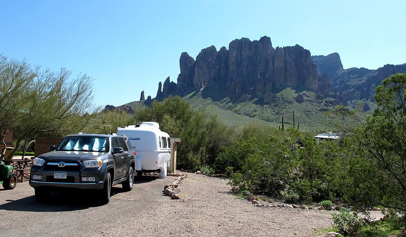 My friend Jerrie's Casita. She's hosting at Lost Dutchman State Park for the month of March. Lucky her! Drove out there to spend the part of the day hanging out with her before heading down the road to an old ghost town called Goldfield.