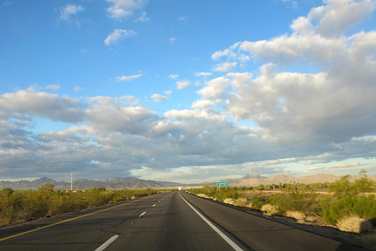 Coming into Quartzsite from the east. In the distance you can see the 'city of white' created by all of the RVers who inhabit Q in the winter.