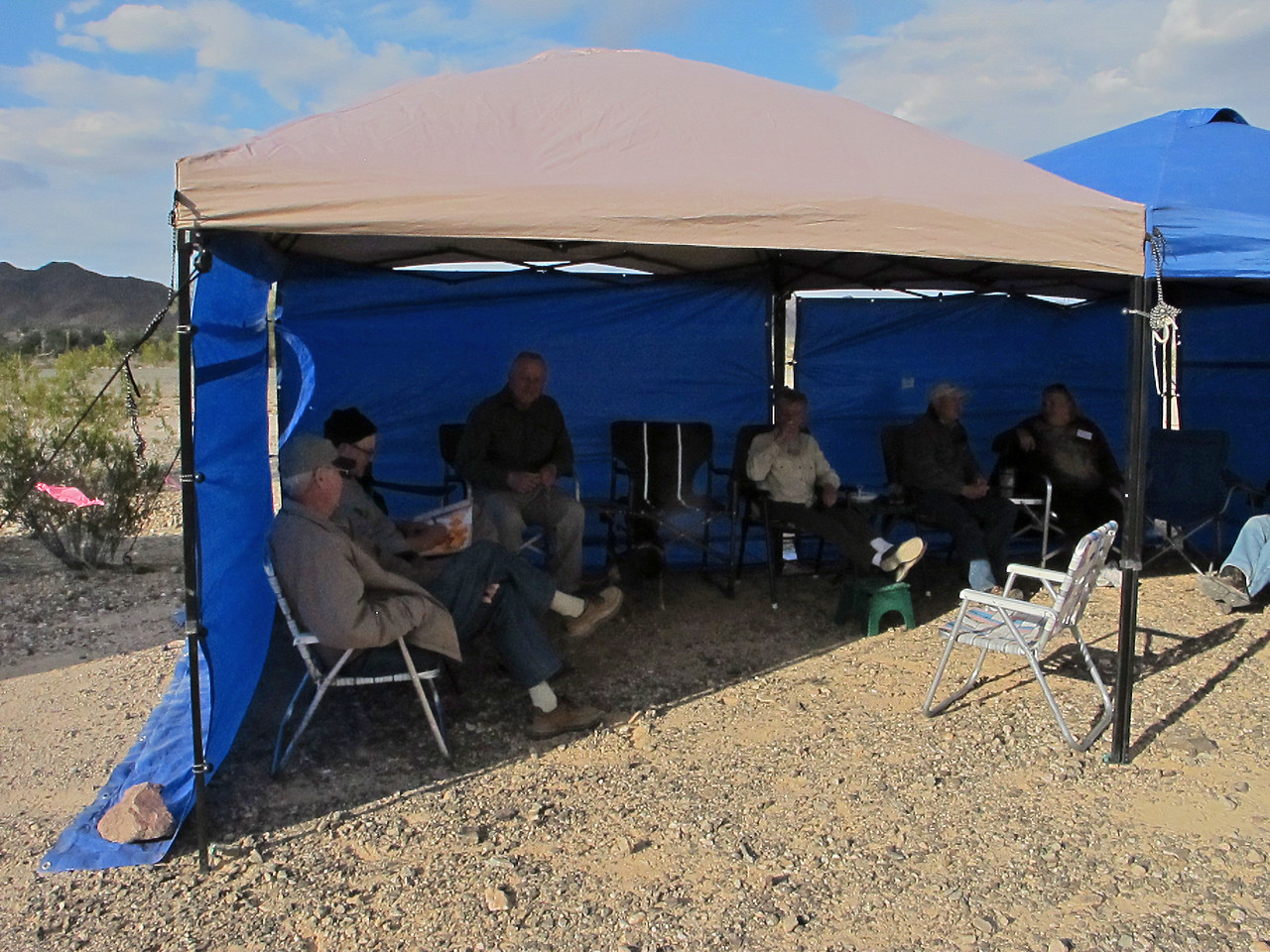 Some days were fairly windy, so the tent became the place to hang out and visit.