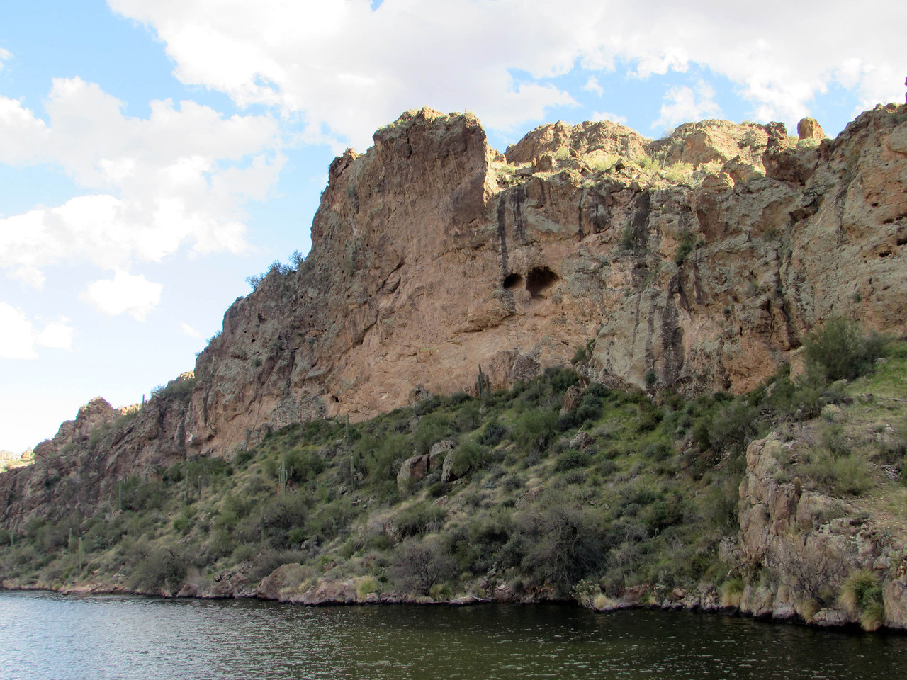 Steep canyon walls everywhere!  There's an estimated 57,852 acre feet of water in Canyon Lake, which in places is 142 feet deep.  There are more than 28 miles of shoreline to the lake.