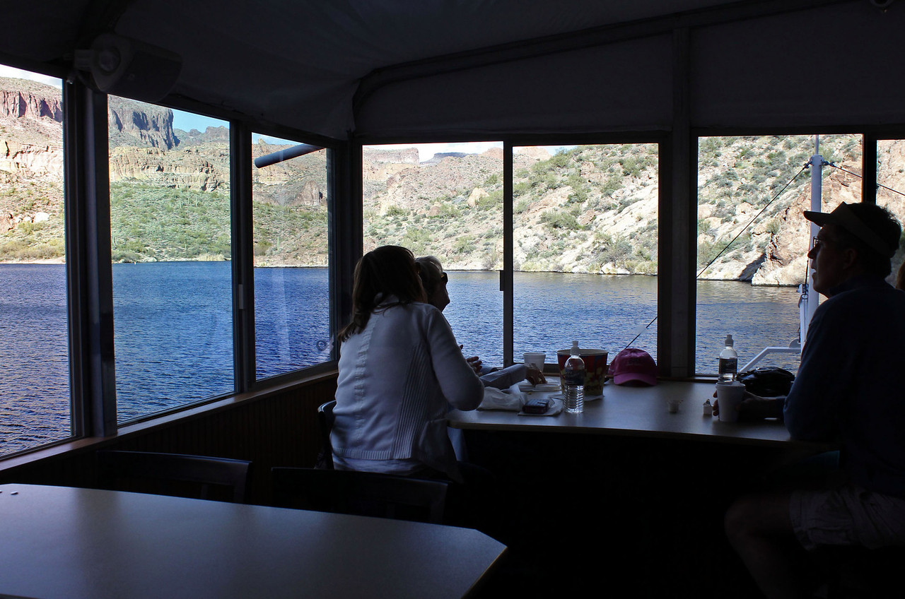 Passengers enjoying the sights of the canyon from the main cabin of the Dolly.