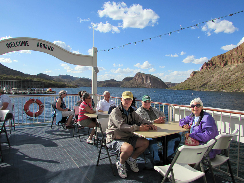 We spent most of our time on the fantail.  Karen captured this photo of Larry and friends Chris and Belva Anderson.