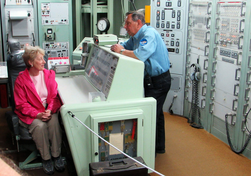 One of our group was tapped to serve -- if only briefly -- as a launch commander.  Sam Densler gives her a briefing.