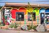 Colorful graffiti on a building in Ajo, Arizona, USA.