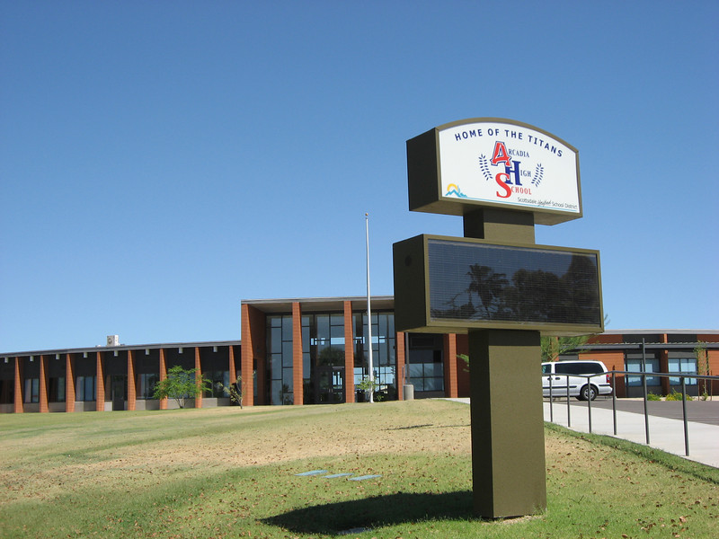 New Arcadia High sign in the front, looking towards the administration building