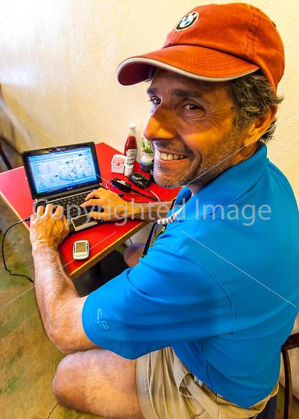 ACA cyclist, Gathering Grounds Coffeehouse, Patagonia, AZ - D2 - C2-0040 - 72 ppi