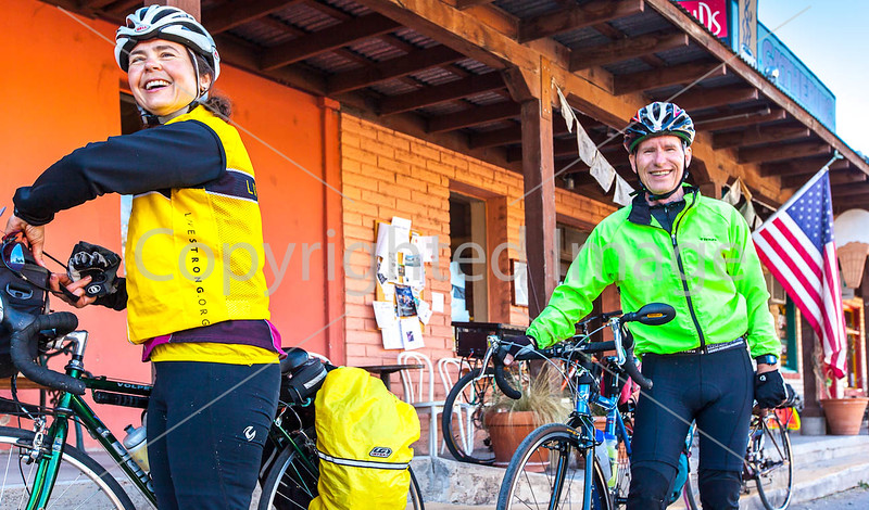 ACA - Cyclists outside Gathering Grounds Coffeehouse, Patagonia, AZ - D3-C2-0048 - 72 ppi