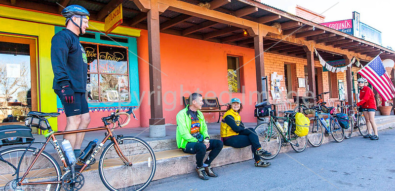 ACA - Cyclists outside Gathering Grounds Coffeehouse, Patagonia, AZ - D3-C2-0037 - 72 ppi