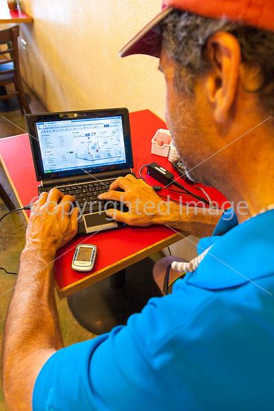 ACA cyclist, Gathering Grounds Coffeehouse, Patagonia, AZ - D2 - C2-0039 - 72 ppi