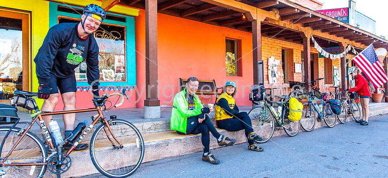 ACA - Cyclists outside Gathering Grounds Coffeehouse, Patagonia, AZ - D3-C2-0036 - 72 ppi