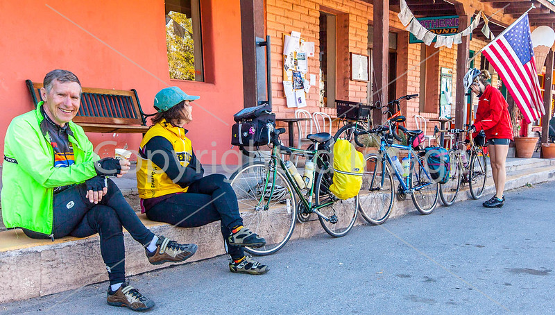 ACA - Cyclists outside Gathering Grounds Coffeehouse, Patagonia, AZ - D3-C2-0034 - 72 ppi-2