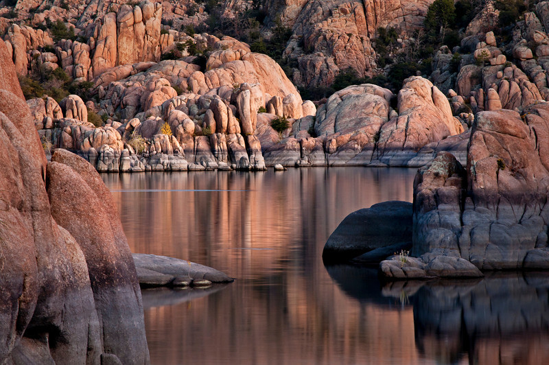 AZ 038                      The granite rock formations of Watson Lake glow in the twilight of a fading southwestern sunset.  Prescott, Arizona.