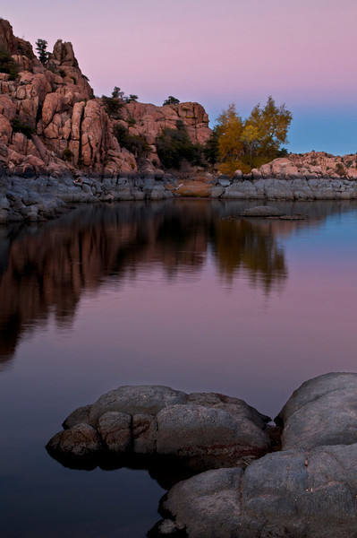 AZ 033                      The granite rock formations of Watson Lake glow in the twilight of a fading southwestern sunset.  Prescott, Arizona.