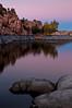 AZ 033                      The granite rock formations of Watson Lake glow in the twilight of a fading southwestern sunset.  Prescott, Arizona.