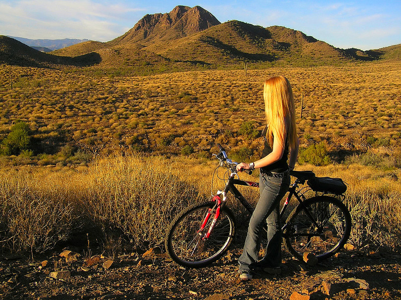 Mountain biking on a mining trail in the Daisy Mountain Preserve in the northern Sonora Desert.