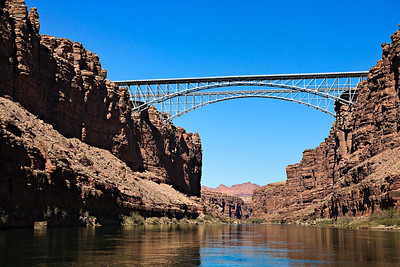 Old and new Navajo Bridge crossing Marble Canyon River mile 4