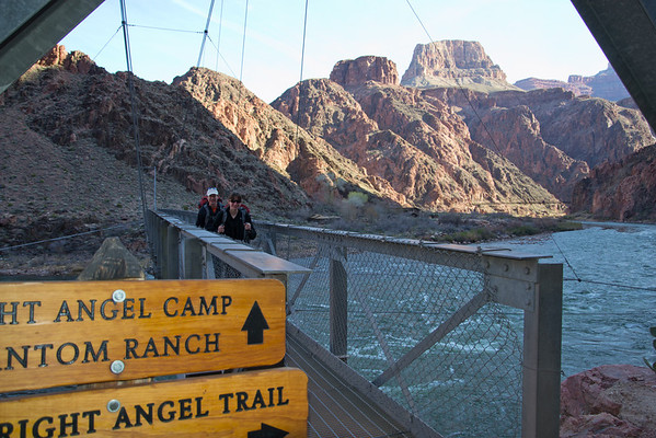 Crossing the bridge as we leave Bright Angel campground and begin our full day hike out of the Grand Canyon.