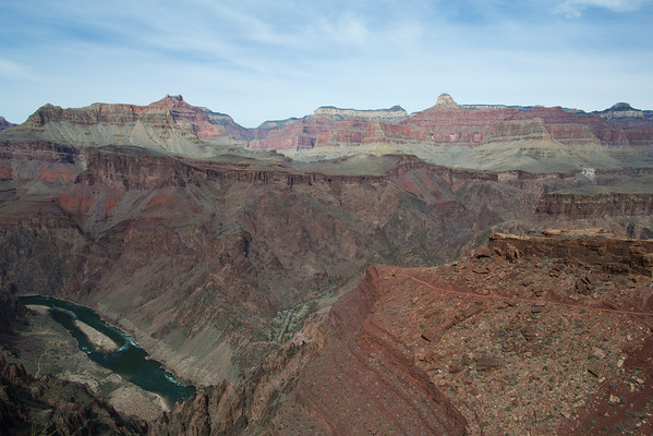 Views of the Colorado river as we approach the bottom of the Grand Canyon along the South Kaibab trail.