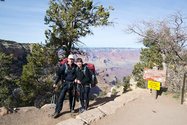 Triumphant return to the South Rim at the top of Bright Angel trail.
