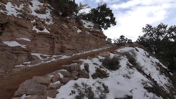 A short stretch of our hike down into the Grand Canyon on the South Kaibab trail.  This is near the top, where there is still plenty of snow, but we'll soon drop below that to warmer temps.